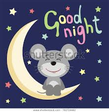 good night funny mouse cartoon style