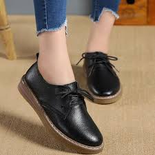 2019 spring leather casual las flat