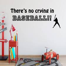 Vwaq There S No Crying In Baseball Sports Wall Decal Saying Vinyl Letters Stickers Baseball Wall Art Walmart Com Walmart Com