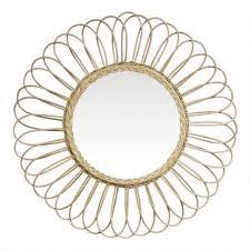 round natural rattan petal mirror