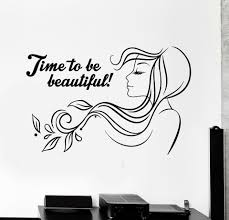 Time To Be Beautiful Vinyl Wall Decal Beauty Salon Quote Woman Hair Salon Stickers Mural Self Adhesive Monochrome Decals A272 Wall Stickers Aliexpress