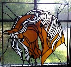 stained glass horse window panel on