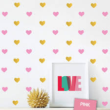 Amazon Com The Boho Design Gold And Pink Hearts Wall Vinyl Decal Decor Nursery Adhesive Heart Stickers For Kids Baby Nordic Corazones Bedroom Decoration Home Kitchen