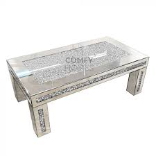 mirrored crushed crystal coffee table