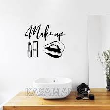 Beauty Salon Wall Stickers Makeup Quote Wall Decals Make Up Wall Art Lips Decal Sticker Lipstick Brushes Girls Room Decor S683 Buy At The Price Of 6 98 In Aliexpress Com Imall Com