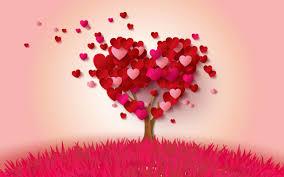 تحميل خلفيات قلب أحمر مجردة شجرة الرومانسية عيد الحب خلفية