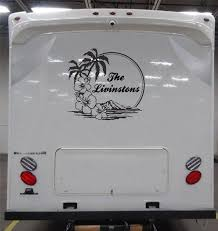 Island Scene With Your Family Name Custom By Smokymountaindecals Rv Travel Rv Travel Trailers Travel Trailer