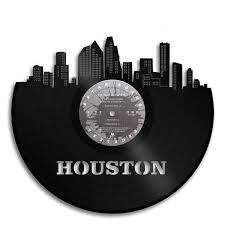 Houston Vinyl Wall Art Skyline Cityscape Vintage Decorative Gifts Vinylshop Us