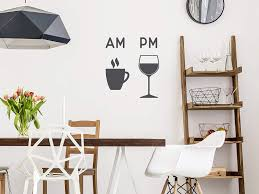 Amazon Com Story Of Home Llc Am Coffee Pm Wine Vinyl Wall Decal Coffee Vinyl Wall Decal Wine Wall Decal Kitchen Dining