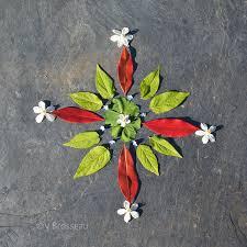 Le land-art feuilles et fleurs - création - Couleur-de-natures