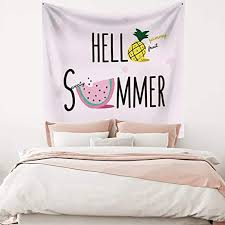Amazon Com Leowefowas Hello Summer Pineapple Watermelon Cute Tapestry Baby Kids Room Wall Hanging Home Decor Wall Art 59 1 X59 1 Fresh Wall Tapestry For Living Room Bedroom Home Kitchen