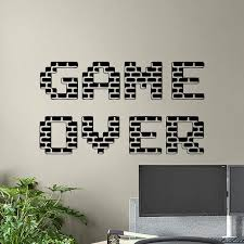 Game Over Wall Decal Gamer Poster Gaming Sign Playroom Vinyl Sticker Home Decor Boys Bedroom Mural Video Pixel Wallpaper A161 Wall Stickers Aliexpress