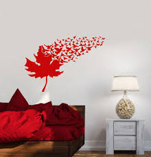 Vinyl Wall Decal Maple Tree Leaf Flock Of Birds Room Decor Stickers 3 Wallstickers4you