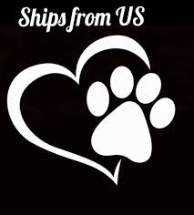 I Love My Dog Paw Print Heart Vinyl Decal Car Window Sticker White For Sale Online