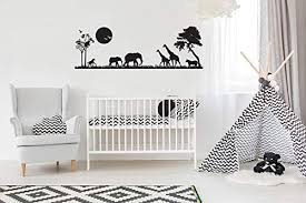Amazon Com Safari Scene Nursery Wall Art Vinyl Wall Decal Animals Boys Bedroom Zoo Park Theme Jungle Animal Wall Sticker Above Crib Decor Baby Sign Nb42 Home Kitchen