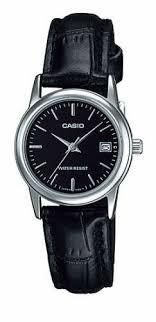 casio ltp v002l 1a black leather strap