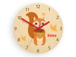 Kids Wall Clock Scoiattolo With Personalizen Name Wood Clock Large Clock Kids Clock Childrens Clock Kids Room Wall Art Wall Decal
