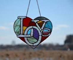 heart suncatcher stained glass window
