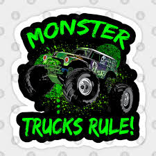 Grave Green Digger Monster Trucks Rule Gift For Kids And Adults Grave Digger Sticker Teepublic