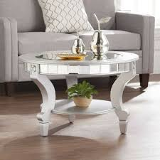 round glam mirrored mosaic coffee table