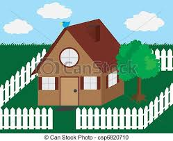House With Picket Fence House Illustration With Picket Fence And Tree