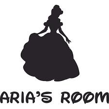 Belle The Disney Princess Cartoon Design Customized Name Wall Decal Custom Vinyl Wall Art Personalized Name