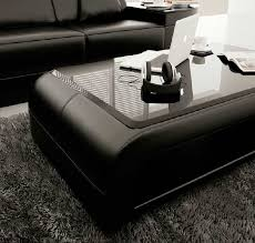 modern black bonded leather coffee