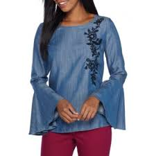 Crown & Ivy™ Bell Sleeve Embroidery Top Medium Chambray Women Blouses  Oidglqp0
