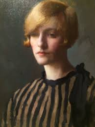 Woman with Golden Hair in a Brown Striped, Dress', Gladys Nelson Smith. No  date.   Portrait, Traditional art, Face art
