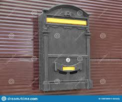Vintage Mailbox On Metal Fence Outdoors Stock Photo Image Of Receive Post 150072600