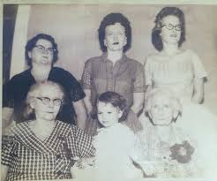 6 Generations: Bottom L to R Ida Link, Gayle Jo West, Mary Lowry, Back L to  R Bill Koch, Helen Simmons, Gay Nell West.