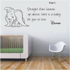 Wall Stickers Dumbo The Elephant Straight From Heaven Vinyl Decal Decor Nursery Baby Elephant Nursery Dumbo Baby Shower Elephant Nursery