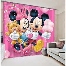 3d 2 Panel Curtain Pink Minnie Mickey Mouse Theme Blackout Style Kids Curtains Cool Curtains Mickey Mouse Theme