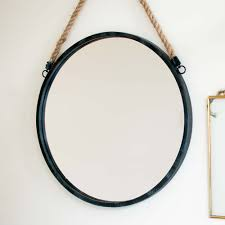 scandi style black metal hanging mirror