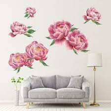 Amazon Com Extra Large Peony Flowers Wall Sticker Removable Romantic Floral Wall Decals For Sofa Background Living Room Bedroom Nursery Room Decorations 39 4 X15 7 Kitchen Dining