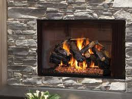 log sets fireplace stone patio