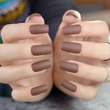 chocolate brown fake nails matte frost