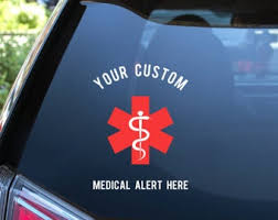 Medical Alert Decal Etsy