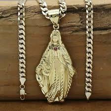 mens 18k gold plated virgin mary