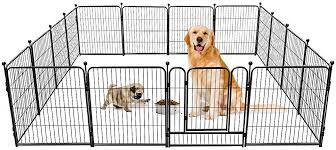 Amazon Com Tooca Dog Pen 16 Panels 32 Height Rv Dog Fence Playpens Exercise Pen For Dogs Metal Outdoor Protect Design Poles Foldable Barrier With Door Black Pet Supplies