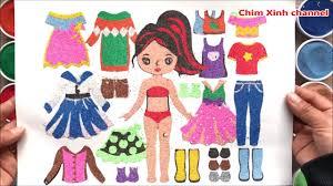 TÔ MÀU TRANH CÁT BÚP BÊ THAY VÁY ĐẦM - Colored sand painting dolls (Chim  Xinh) - YouTube