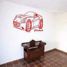 Ferrari Car Sticker For Wall With Personalised Name Sticker
