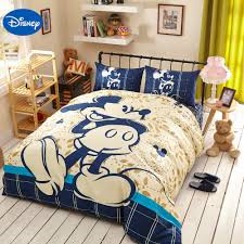 Blue Disney Cartoon Mickey Mouse 3d Printing Bedding Set For Kids Bedroom Decor Cotton Bed Sheets Duvet Cover Single Twin Queen 3d Print Bedding Set Bedding Setprinted Bedding Set Aliexpress