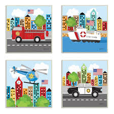 The Kids Room By Stupell 12 In X 12 In Fun Cartoon Metro Vehicle Heroes By Kathy Middlebrook Printed Wood Wall Art Set Of 4 Brp 2218 Wd 4pc 12x12 The Home Depot