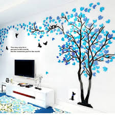 Amazon Com Double Trees 3d Wall Murals Decals Diy Tv Setting Wall Sofa Backdrop For Home Wall Decor 79 Inch Tall Large Blue Sky Blue Tree On The Right Kitchen Dining