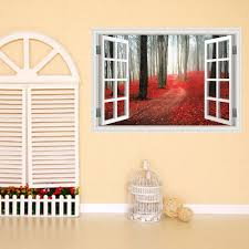 Creative Home Decor 3d Fake Window Wall Stickers Red Maple Grove Pattern For Living Room Mural Art Decal Wallpaper 60 90 Cm Creative Home Decor Olivia Decor Decor For Your Home And Office