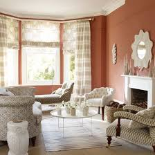 terracotta living room with patterned