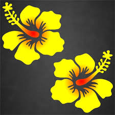 2 Yellow Red Hibiscus Flower Window Stickers Decals Hawaiian Etsy