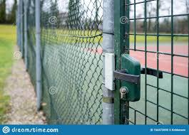 Entrance To The Playground Is Surrounded By A Welded Wire Fence And A Gate With A Lock And Handle Stock Image Image Of Grate Playground 164472695