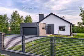 Villa With Fence And Garage Stock Photo Download Image Now Istock